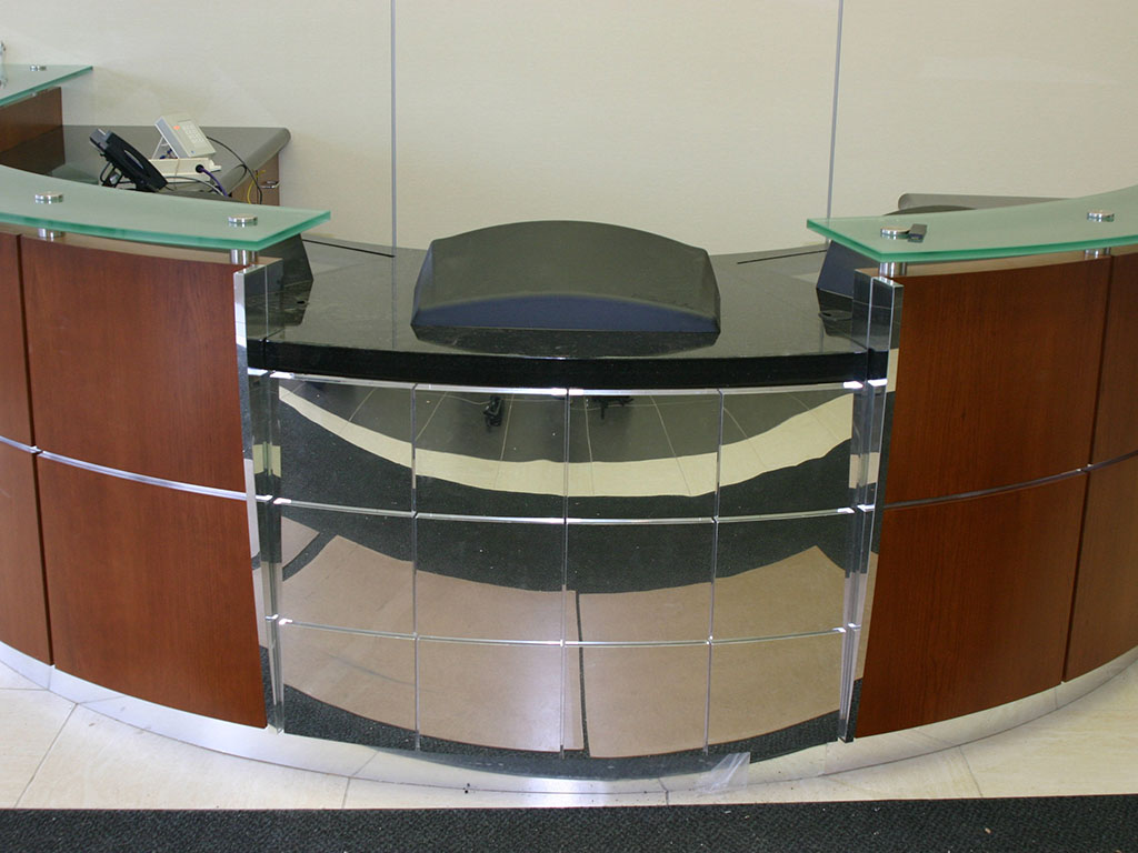 Updated FedEx Desk with Glass Accents